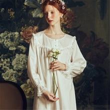 Princess Wind Nightgowns Female Spring Summer Palace Retro Pure Cotton Nightdress 2019 New Long-Sleeve Woman Sleepwear HS3014