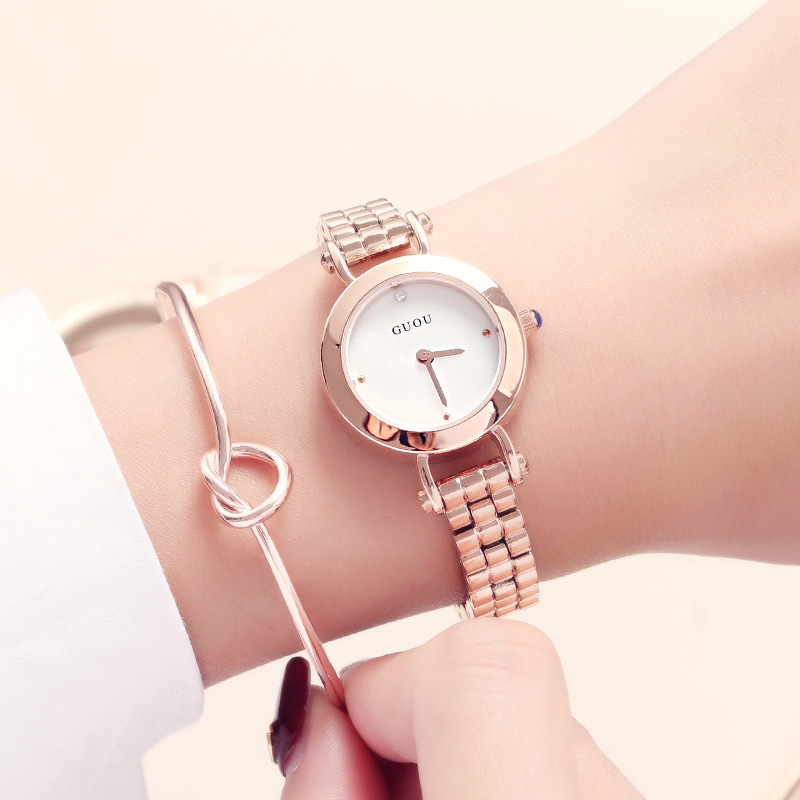 GUOU Brand New Luxury Fashion Quartz Ladies Watch Clock Rose Gold Dress Casual girl relogio feminino Women Watches guou luxury brand women quartz watch relogio feminino gold bracelet clock ladies fashion casual stainless steel wrist watches