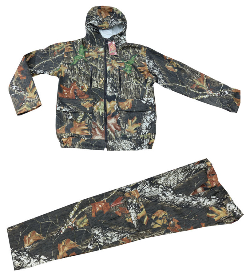Medium thickness Breathable Black Leaves Camouflage Multi pocket Fishing Clothing sui Jacket with hood and Trousers