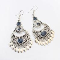 Poem snow Metal crescent fringed Earrings