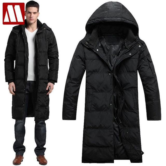 45f83673b0f3c 2019 Men Winter Outdoors Long trench Coat Down Jacket Thickening Hooded  Army Green Parka Coats Free