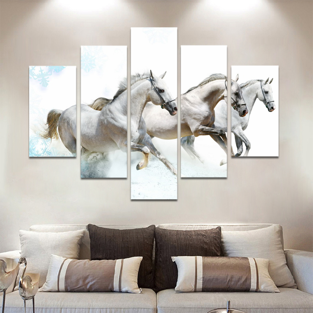 Unframed HD Print 5 Canvas Art Painting Horse Group Living Room Decoration Painting Mural Unframed Custom Made