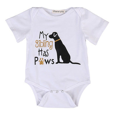9a34a8d72a30 Cotton Toddler Infant Baby Boys Girls Short Sleeve Cute Dog Romper Jumpsuit Clothes  Outfits