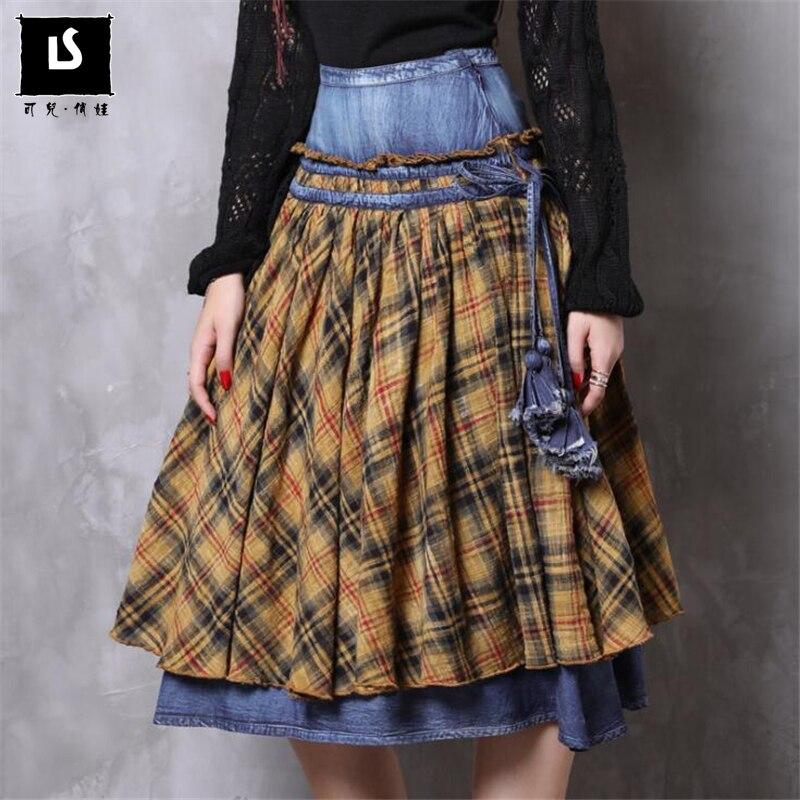 Europe America Women s Skirts Ladies Autumn Winter Vintage Plaid Skirts Denim Stitching Skirt Female Soft