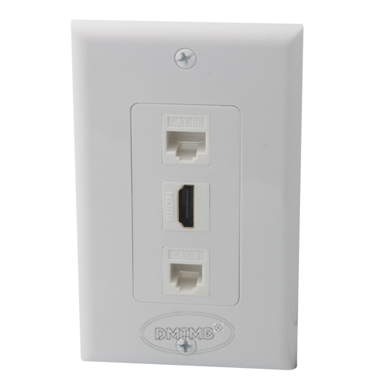 Hdmi Rj45 Rj11 Wall Plate With Female To Female Connector