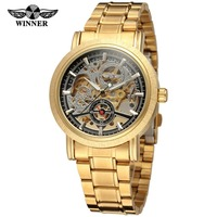 Winner Men's Watch Hot Sale Luxury Fashion Skeleton Stainless Steel Band Attractive Famous Brand Wristwatch Color Gold WRG8077M4