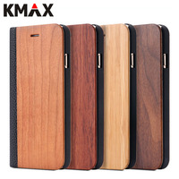 For IPhone 7 6 6s Plus Real Wooden Flip Case For IPhone 6 6s 7 Natural