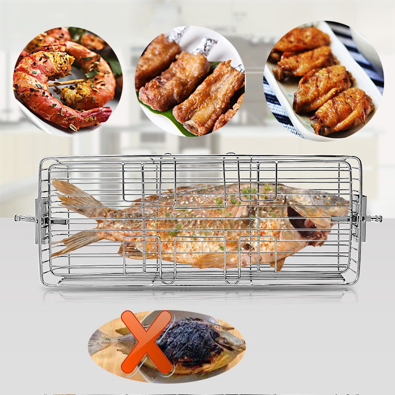 24L-40L Stainless Steel Grill Roaster BBQ Rotisserie Ovenware Skewers Oven Rotate Cage Roast Fish Shrimp Meat Shelf Baking Tools(China)