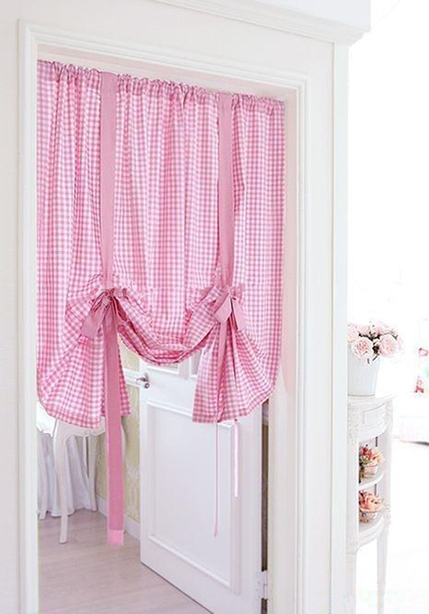 Ho how to tie balloon curtains - 100 Cotton Twill Korean Style Pink Grid Short Curtain Semi Light Shading Decoration Balloon Curtain