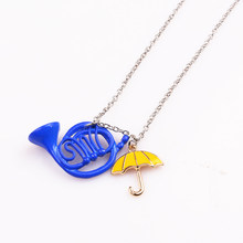 TV HIMYM Fashion How I Met Your Mother Blue French Horn Umbrella red Rain boots Necklace pendants factory outlet(China)