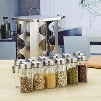12Pcs Durable Kitchen Glass Cruet Salt Pepper Shaker Seasoning Storage Bottles with Rack Stainless Steel Lid