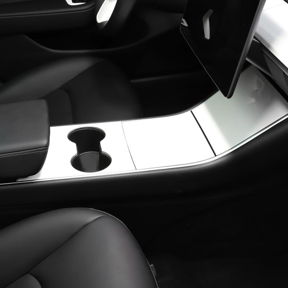 LUCKEASY voiture centrale panneau de commande patch de protection pour Tesla modèle 3 2017-2019 ABS Imitation fibre de carbone rouge blanc 3 pièces/ensemble - 6