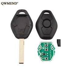 Qwmend 433/315 mhz chave remota para bmw ews 1/3/5/7 series para bmw 318 325 330 525 530 540 e38 e39 e46 hu58/hu92 lâmina