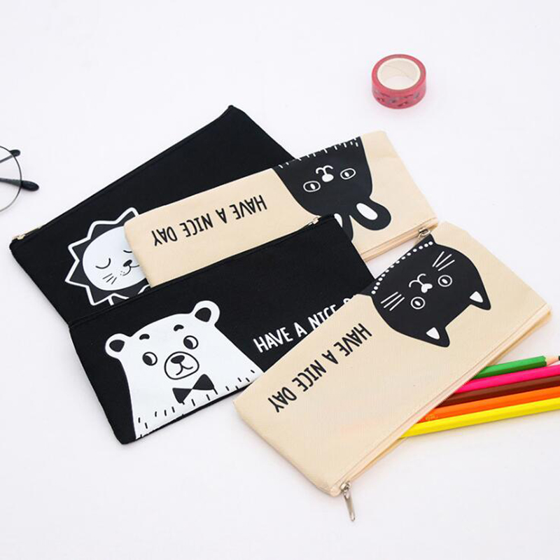 1pc Small Lion Kitten Simple Cartoon Pencil Case Creative Canvas Zipper Stationery Bag Children Student Gift Stationery