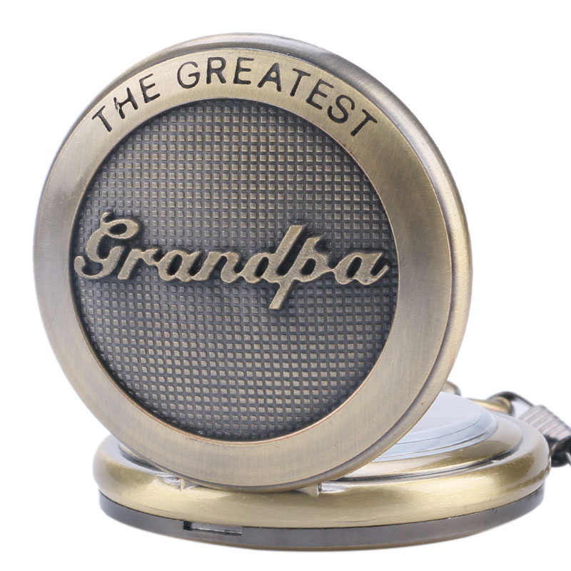 The Greatest Grandpa Design Quartz Pocket Watch Vintage Bronze Pendant Clock Best Birthday Gift With 30cm Pocket Chain