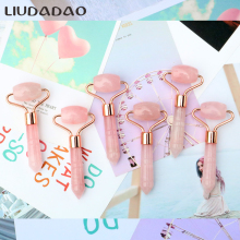 Rose Gold Mini Rollers Massager Jade Rose Quartz Skin Care Beauty Massage Tools