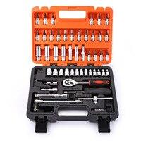 Universal 53pcs Auto Car Repair Tool Kit Box Set Ratchet Wrench Sleeve Joint Hardware Batch Head