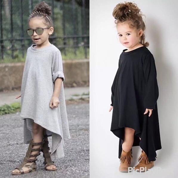 Automne Filles Robe Irrégulière Hem Manches Longues Robes Filles Noir gris Robe Pour Enfants Bébé Filles robe da menina vetement fille