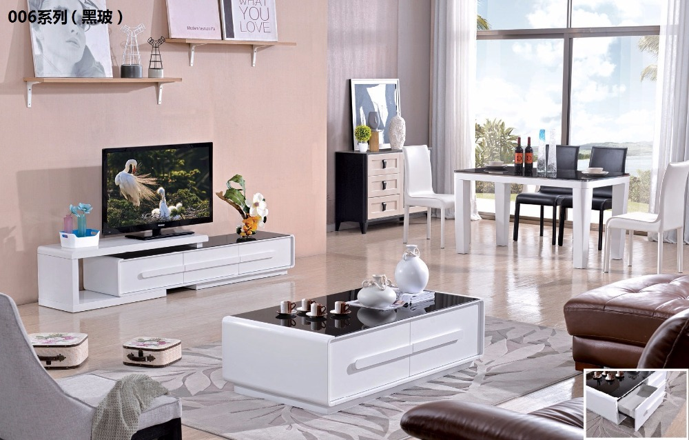 CJTV006 Minimalist Modern living room furniture Tempered glass surface TV stand cabinet coffee tea table furniture set