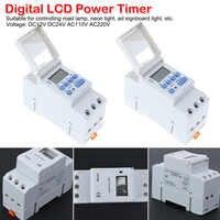 AC/DC 220V 110V Digital LCD temporizador de potencia relé de interruptor de tiempo programable 16A temporizador con carril Din