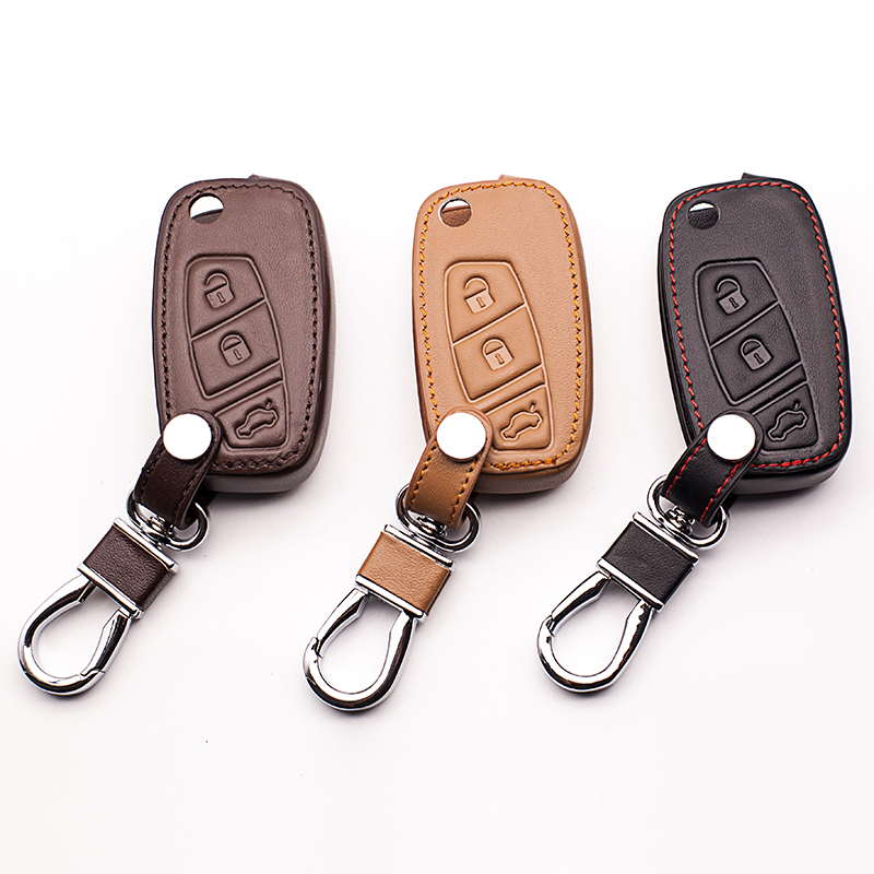 High quality genuine leather key chain ring cover 3 Button fold for Fiat Panda Stilo Punto Doblo Grande Bravo 500 Ducato Minibus катушка зажигания для alfa romeo fiat 500 bravo doblo idea panda lancia 46777288