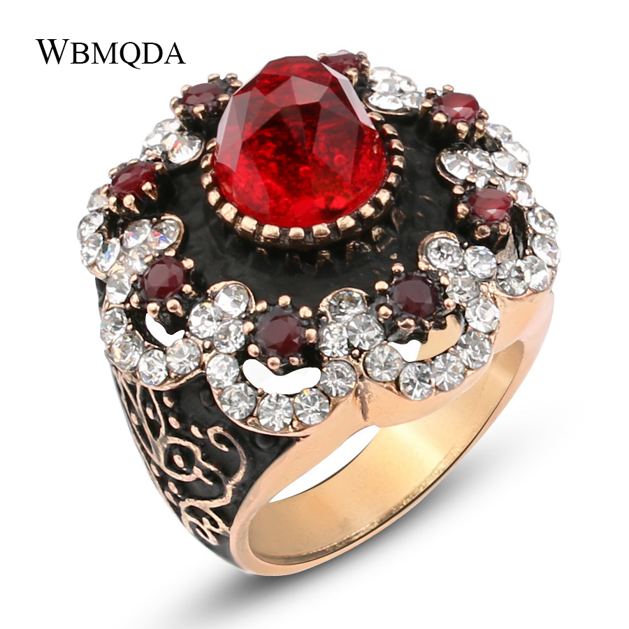 Wbmqda Luxury Natural Stone Ring Vintage Crystal Antique Gold Color Big Rings For Women Party Christmas Gift Red Turkish Jewelry