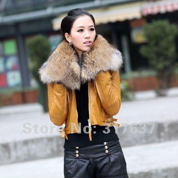 2014 Women's Genuine Leather Cotton Jacket Sheepskin Short Coat ...