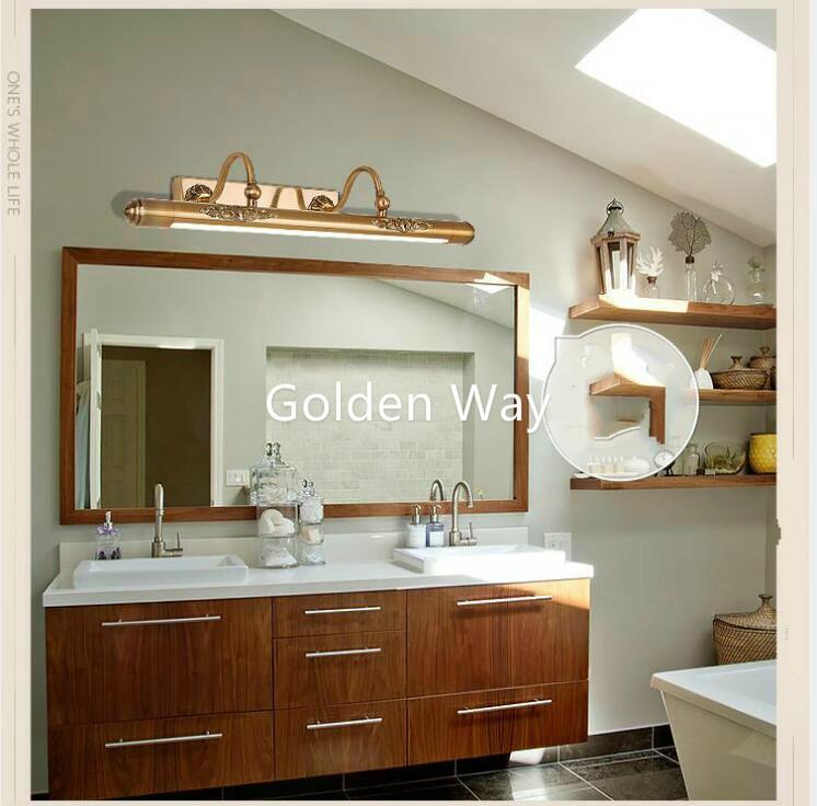 Bathroom Mirror Lamp 52cm 60cm 80cm Waterproof Retro Bronze Cabinet Vanity Mirror Lights Led Wall Light Lamp Led Light Wall Lamp Led Wall Light Lamp Mirror Lampled Light Wall Lamp Aliexpress