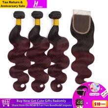 HairUGo Brazilian Body Wave Hair Weave Bundles With Closure Ombre 1B/99J Burgundy Human Remy
