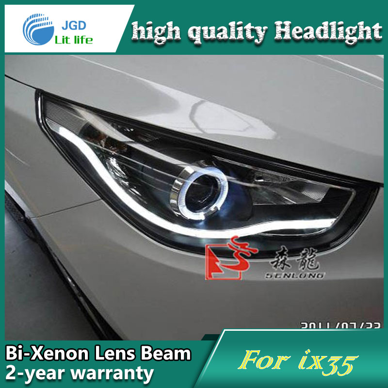 Car Styling Head Lamp case for Hyundai IX35 Headlights LED Headlight DRL Lens Double Beam Bi-Xenon HID Accessories hireno headlamp for 2004 10 hyundai elantra headlight headlight assembly led drl angel lens double beam hid xenon 2pcs
