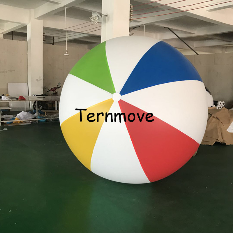 2.5m(98 inch) 3m Giant PVC Rainbow Beach Ball Inflatable colorful Beach Ball for water play games Pool Fun Beach Swimming Float цена