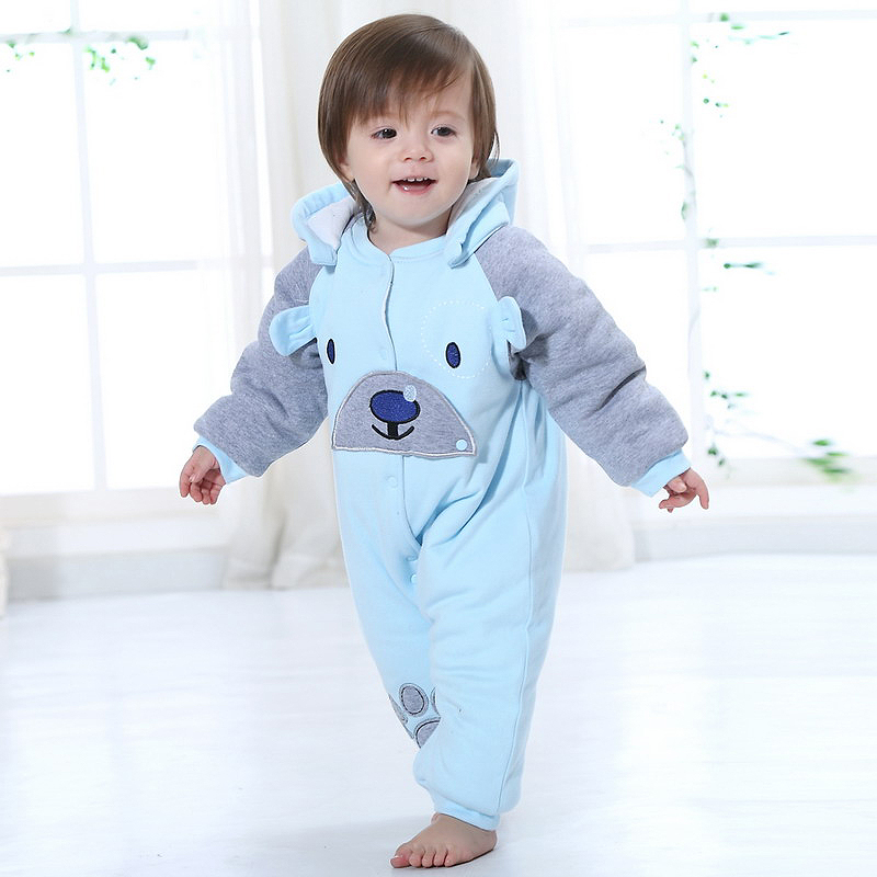 0-2 Year Winter Cotton Baby Rompers Children's  Clothing  hooded Single Breasted Romper Suit embroidery long Sleeve Product Set newborn baby rompers baby clothing 100% cotton infant jumpsuit ropa bebe long sleeve girl boys rompers costumes baby romper