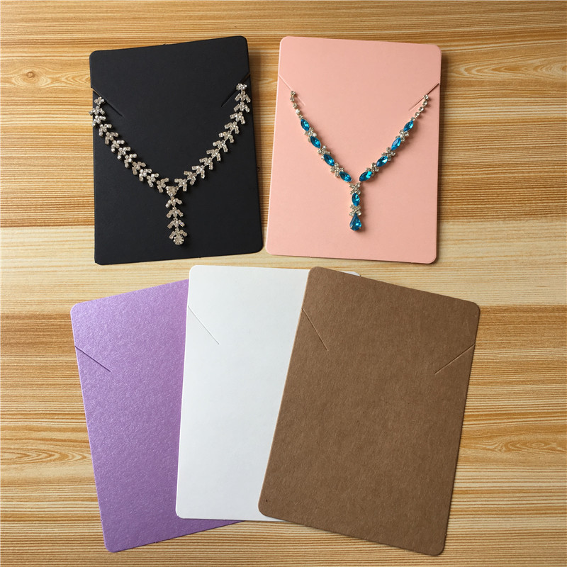 50Pcs/lot 12.5x9cm Handmade Kraft Colorful Paper Cardboard For Fashion Jewelry Necklace Hand Chain Display Packaging Card