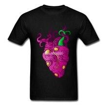 Cthulhu heart Short Sleeve Cotton Custom Men Tee Shirt Octopus Geek Plus Size T-shirts