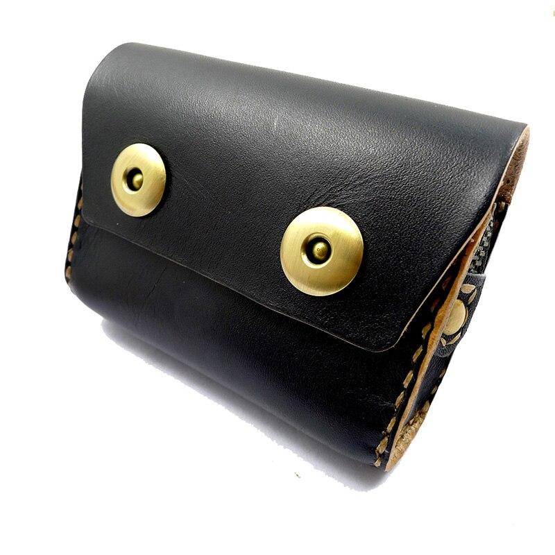 Blongk Genuine Leather Waist Bag Small Fanny Pack Hand-made Belt Wallet Credit Card Holder Car Key Case House Keys Pouch Men S36