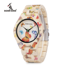 BOBO BIRD Creative Bamboo Watch Women Handmade Wood Bamboo Strap Quartz Movement WristWatch for Female C-O20