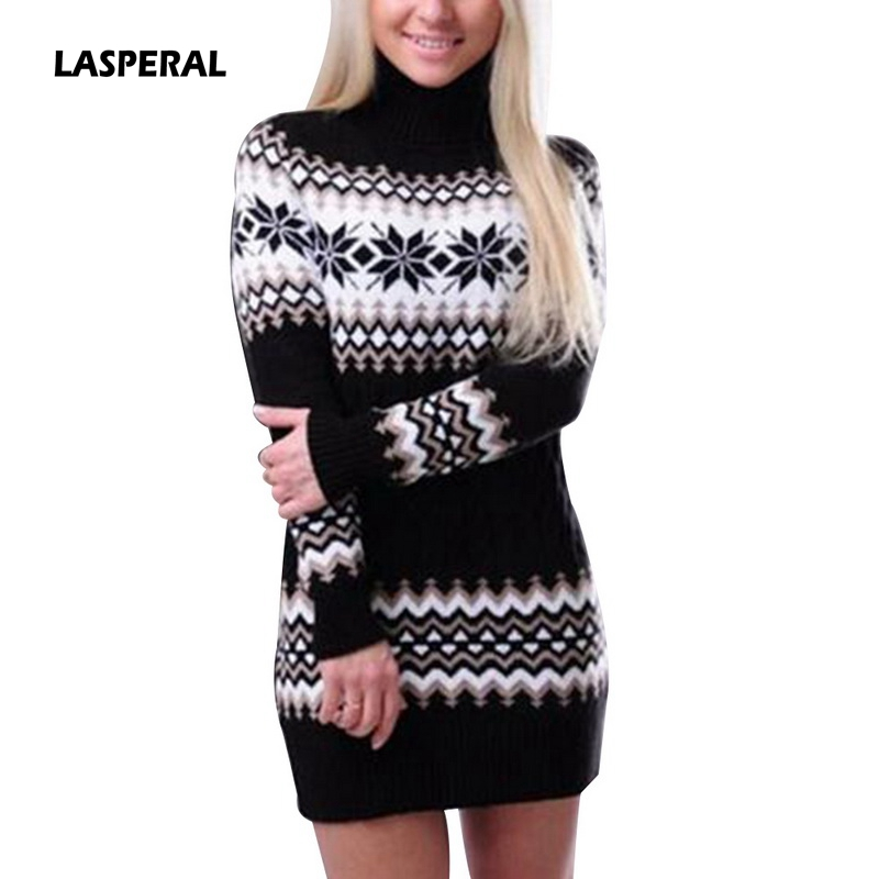 LASPERAL 2018 New Autumn Winter Sweater Women Long Sleeve Turtleneck Pullover Female Long Patchwork Sweater Dress Drop Shipping