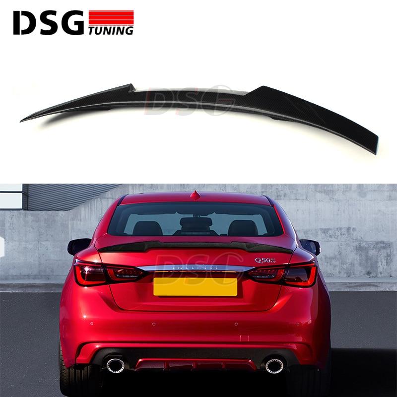 Rear Trunk Spoiler Wing for Infiniti Q50 Sedan 2014 + Carbon Fiber Material M4 Style Tail Splitter Spoiler все цены