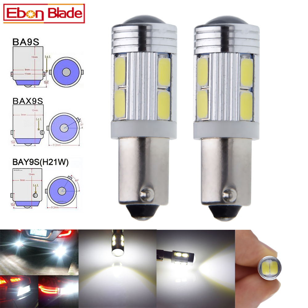 2Pcs <font><b>H21W</b></font> <font><b>BAY9S</b></font> BA9S T4W BAX9S H6W 5630 10SMD <font><b>LED</b></font> Auto Backup Reverse Light Turn Corner Bulb Side Lamp White 12V DC Car Styling image