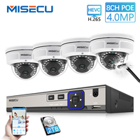MISECU H.265 8CH 48 V POE IP CCTV Системы 4.0MP IP камера POE камера Водонепроницаемый металлический Камера 2560*1440 видеонаблюдения комплект