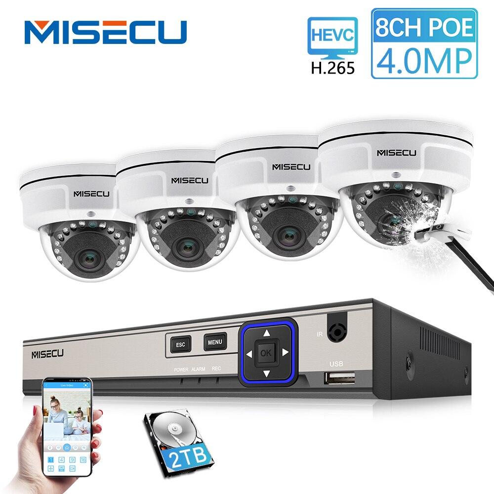 MISECU H.265 8CH 48 V POE système cctv 4.0MP IP POE Vandalisme Étanche caméra métallique 2560*1440 Vidéo kit de surveillance de Sécurité