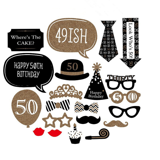 20 Pieces Happy 50th Birthday Party Decorations Supplies Photo Booth