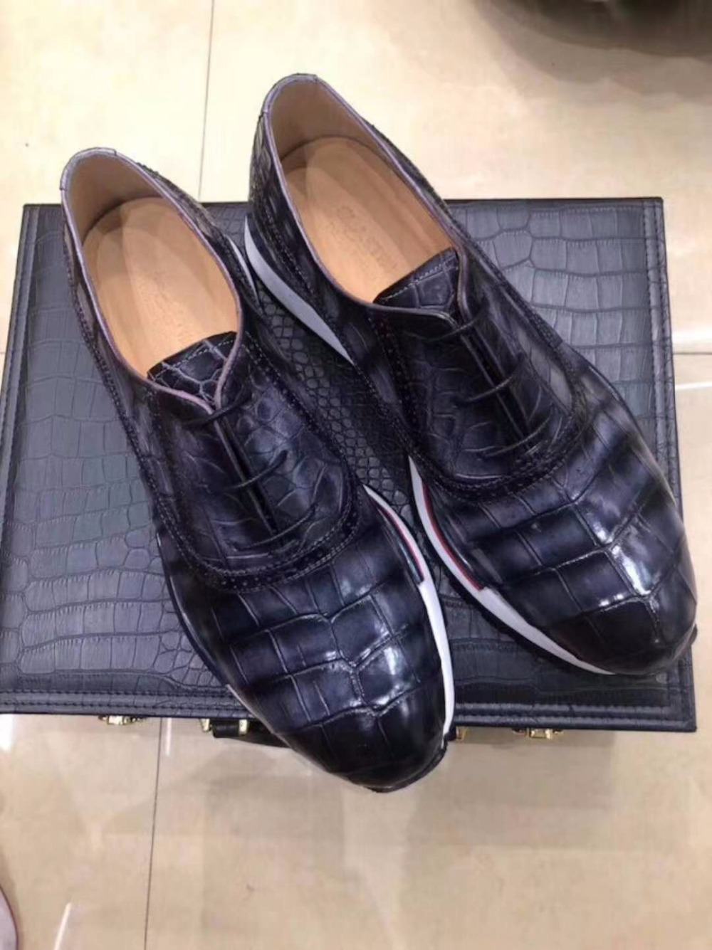 Colores Del Zapatos Genuino Los Brillante 2 Mezclados Con De La Piel Cocodrilo Vientre Negocios Durable Hombres 100 Zapato aqnOwxtdt