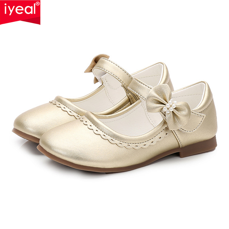 IYEAL Children Casual Shoes Girls Princess Bow Shoes Baby Girl Strap Flat Shoes Kids Girls Fashion Sneakers 4 Colors