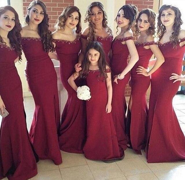 dce24b176 Romantic Beaded Long Bridesmaid Dress 2017 Hot Burgundy Mermaid Off  Shoulder Wedding Party Dresses Junior Bridesmaid Gowns