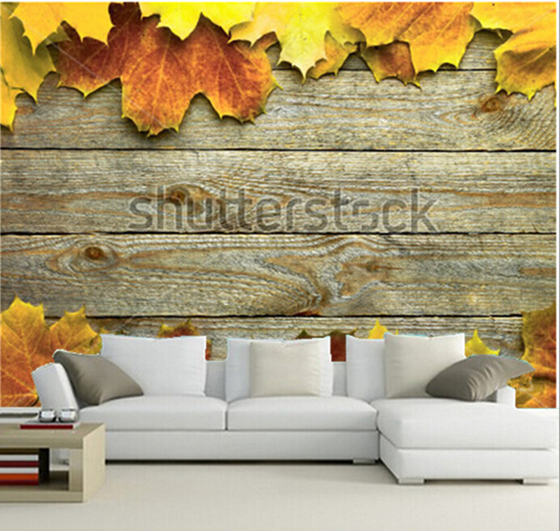 Custom 3D murals,autumn background with colored leaves on wooden board,living room sofa TV wall  bedroom wallpaper free shipping custom large murals of the nordic wood eco living room bedroom tv background wall on a board of nuts