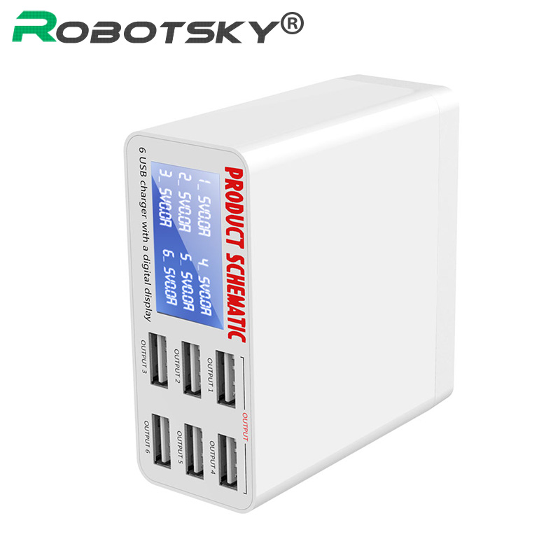 Max 3.5A 6 Port USB Charger with LCD Digital Display Fast Smart Charging Station for iPhone Samsung Xiaomi Smart Phone Tablet PC