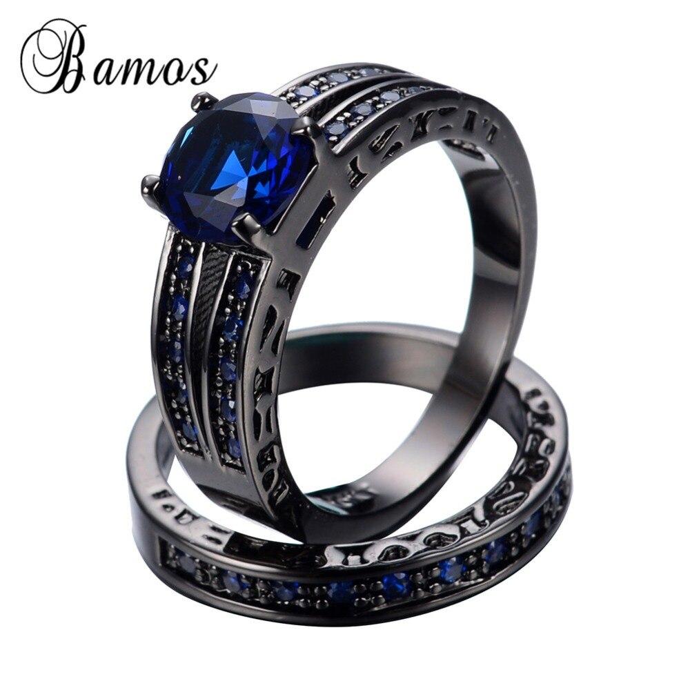 Бамос синий AAA циркон камнем Наборы для ухода за кожей для Для женщин мужские черные Gold Filled Свадебная вечеринка Обручение Promise Ring anillos rb0351