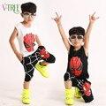 2016 del verano Muchachos Adolescentes Ropa Establece Spider Man Niños Niños Ropa Sin Mangas de la camiseta + pantalones hasta la rodilla para el bebé 3-10 año