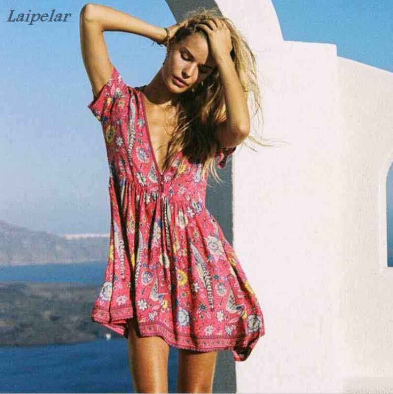 c9d2680c57d6 2018 new summer cotton dress women Bohemia beach Boho dress red love bird  floral print mini